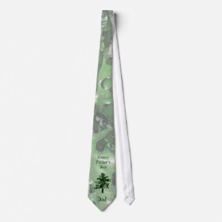 Father's Day Green Tree Silhouette Neck Tie