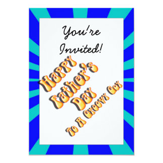 Father's Day Groovy Blues Retro For Groovy Guy 5x7 Paper Invitation Card
