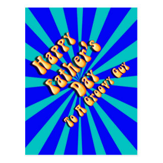 Father's Day Groovy Blues Retro For Groovy Guy Postcard