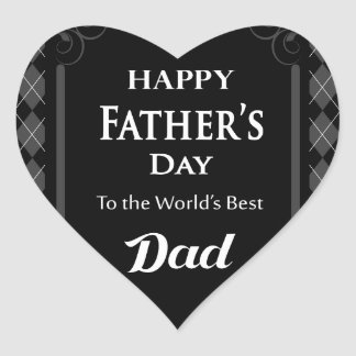 "Father's Day - ""Happy Father's Day"" Black/Grey Heart Sticker"