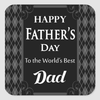 """Father's Day - """"Happy Father's Day"""" Black/Grey Square Sticker"""