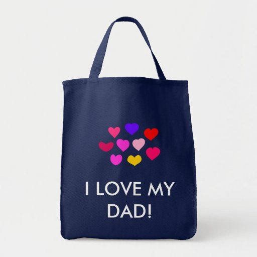 FATHER'S DAY HEARTS GROCERY TOTE BAG