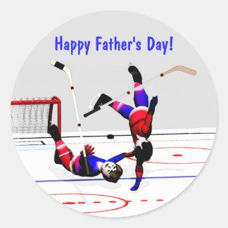 Father's Day Hockey Game Classic Round Sticker