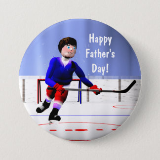 Fathers Day Hockey Overtime Pinback Button