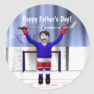 Father's Day Hockey Winner Classic Round Sticker