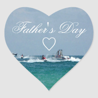 Father's Day Jet Skiing Heart Sticker