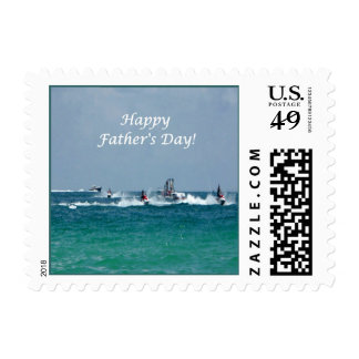 Father's Day Jet Skiing Small Stamp