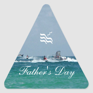 Father's Day Jet Skiing Triangle Sticker