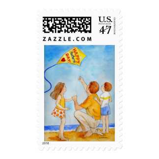 Father's Day Kite Flying Dad with Kids Postage Stamp