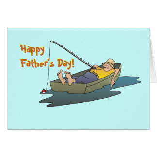 Fathers Day Lazy Boat Day Fishing Greeting Card
