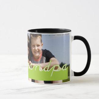 Fathers Day Love Grandpa Photo Green Text Design Mug
