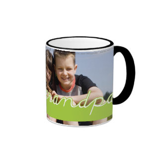 Fathers Day Love Grandpa Photo Green Text Design Ringer Coffee Mug