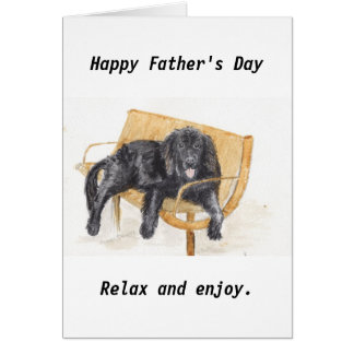 Father's day Newfoundland Dog on bench, Card