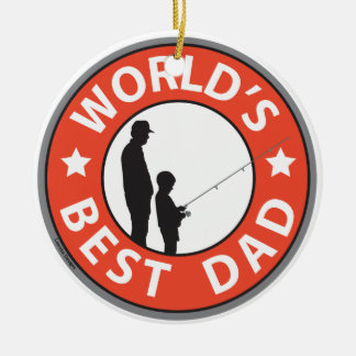Fathers Day Double-Sided Ceramic Round Christmas Ornament