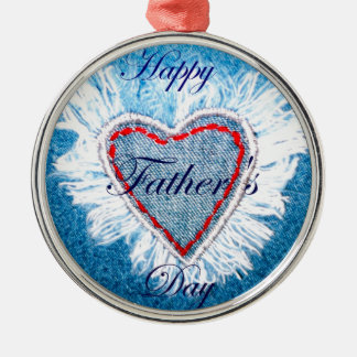 Father's Day Round Metal Christmas Ornament
