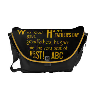 Father's Day-Personal Initial-Grandfathers Messenger Bag