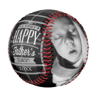 Fathers Day Personalized (Black Plaid) Baseball