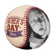 Fathers Day Personalized Photo Custom Baseball at Zazzle