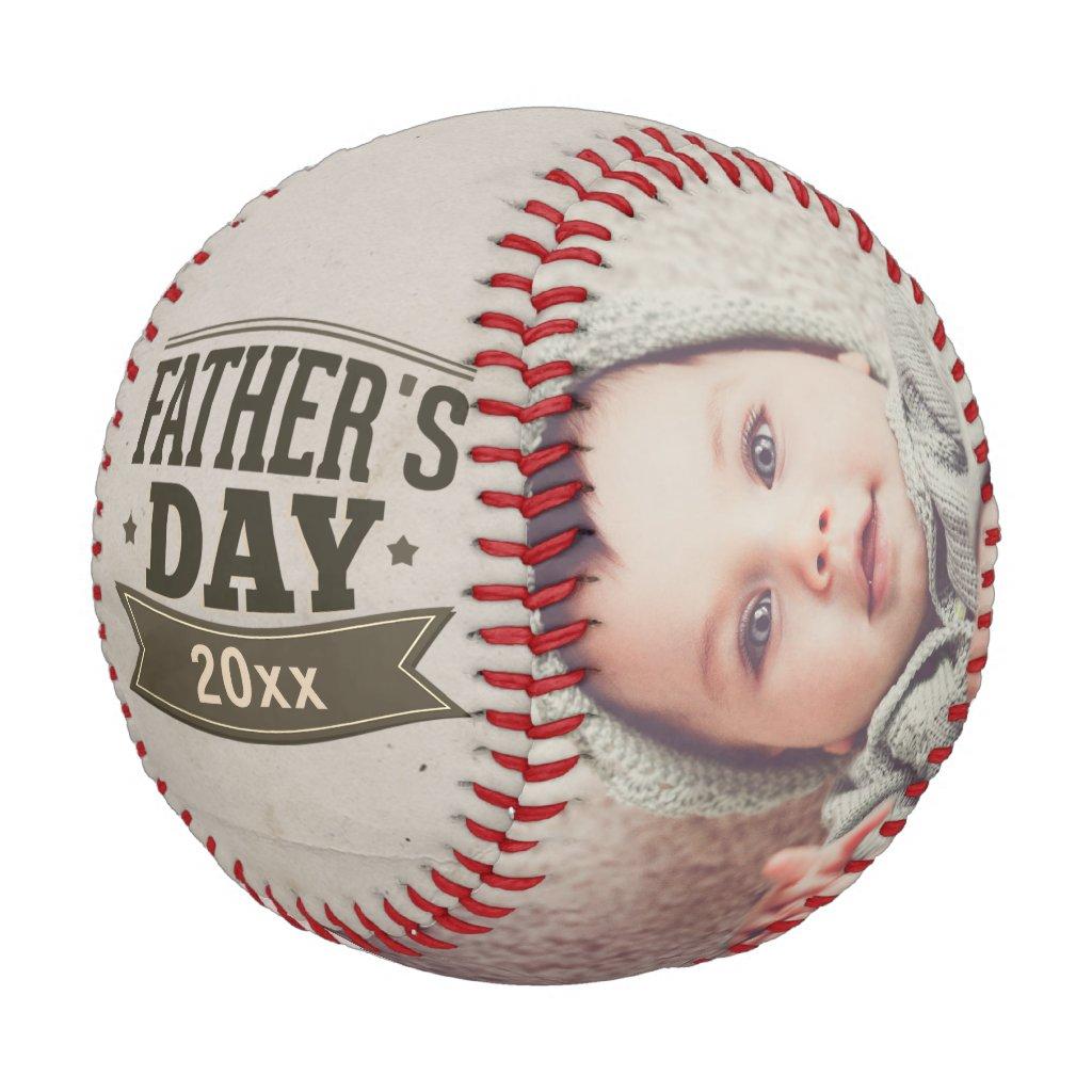 Fathers Day Personalized Photo Custom (green) Baseball