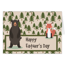 Fathers Day Pine Trees Bear and Fox Card