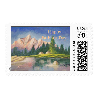 Father's Day Pink Mountain Painting Stamp