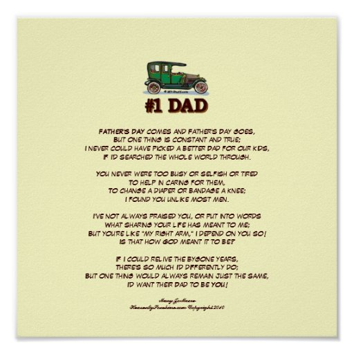 Father's Day Poem from Wife Poster