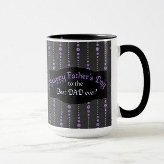 Father's Day Purple Black Dotted Stripes Mug