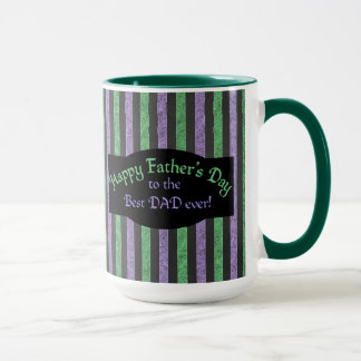 Father's Day Purple Green Striped Mug