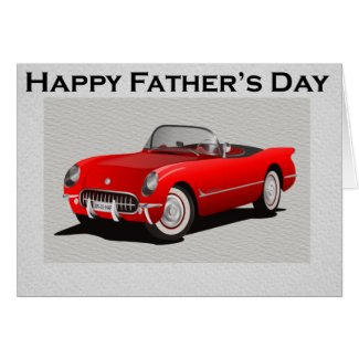 Father's Day Red Convertible Sports Car Greeting Card
