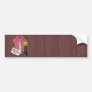 Father's Day Red Shirt with Barn Background Car Bumper Sticker