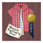 Father's Day Red Shirt with Barn Background Personalized Invite