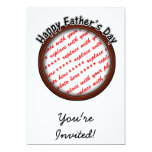 Father's Day Round Brown Photo Frame Personalized Invites