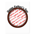Father's Day Round Brown Photo Frame Postcard