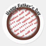 Father's Day Round Brown Photo Frame Round Sticker
