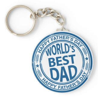 Father's day rubber stamp effect zazzle_keychain