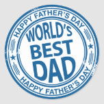 Father's day rubber stamp effect round sticker