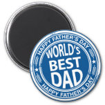 Father's day rubber stamp effect -white- 2 inch round magnet