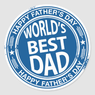 Father's day rubber stamp effect -white- classic round sticker