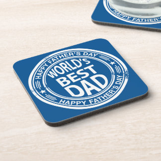 Father's day rubber stamp effect -white- coaster