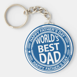 Father's day rubber stamp effect -white- keychain