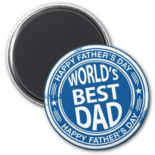 Father's day rubber stamp effect -white- magnet