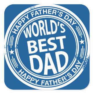 Father's day rubber stamp effect -white- square sticker