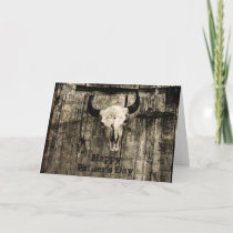 Father's Day Rustic Western Bull Skull Vintage Card