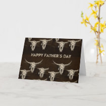 Father's Day Rustic Western Country Bull Skull Card