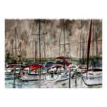 Father's Day sailing sail boats art on canvas Poster