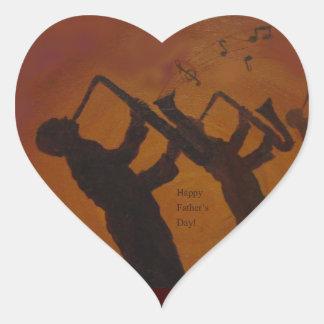 Father's Day Saxiphone Jazz Art Heart Sticker