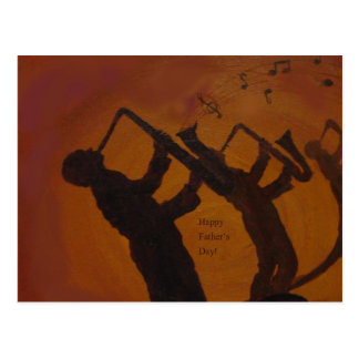 Father's Day Saxiphone Jazz Art Postcard