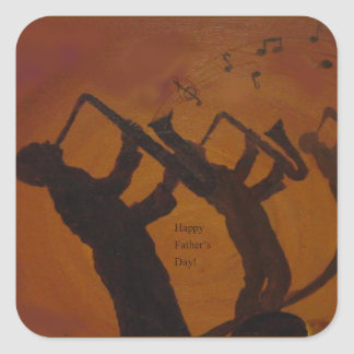 Father's Day Saxiphone Jazz Art Square Sticker