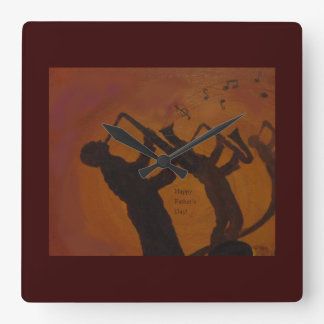 Father's Day Saxiphone Jazz Art Square Wall Clock