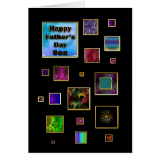 FATHER'S DAY SON - ABSTRACT SQUARES CARD